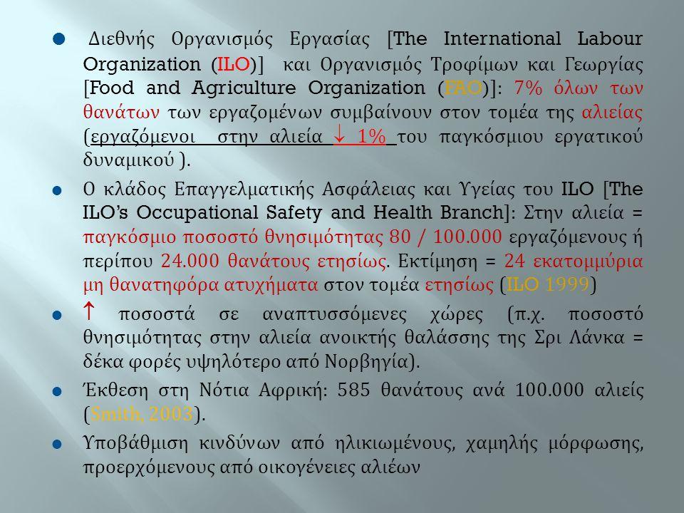 Διεθνής Οργανισμός Εργασίας [The International Labour Organization (ILO)] και Οργανισμός Τροφίμων και Γεωργίας [Food and Agriculture Organization (FAO)]: 7% όλων των θανάτων των εργαζομένων συμβαίνουν στον τομέα της αλιείας (εργαζόμενοι στην αλιεία  1% του παγκόσμιου εργατικού δυναμικού ).